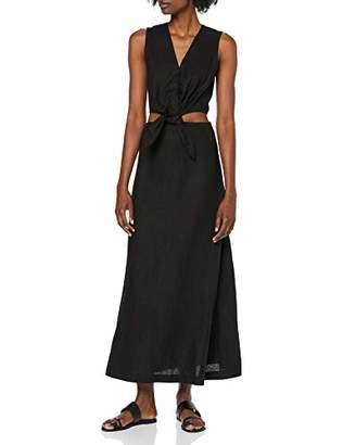 Warehouse Women's Tie Front Cutout Midi Linen Dress, (Black 77), (Size:)