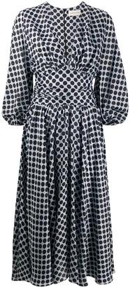 Alexandre Vauthier Plunge-Neck Polka-Dot Print Midi Dress