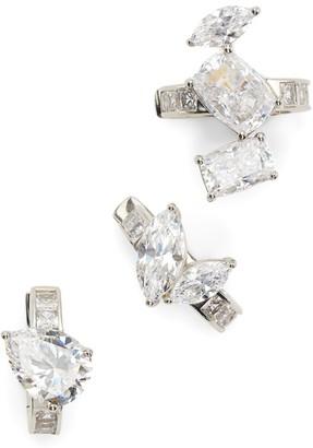 Adriana Orsini Rockslide 3-Piece Plated Silver & Cubic Zirconia Ear Cuff Set