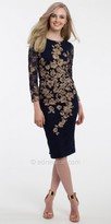 Camille La Vie Embroidered Long Sleeve Sheath Cocktail Dress