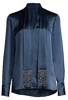 Elie Tahari Women's Kendal Beaded Tieneck Silk Blouse