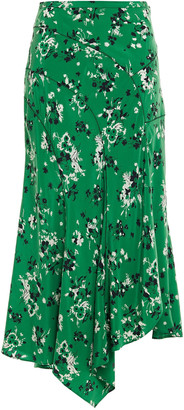 Veronica Beard Mac Asymmetric Floral-print Stretch-silk Crepe De Chine Midi Skirt