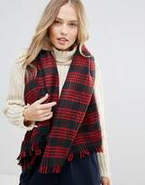 Yumi Navy And Red Check Scarf