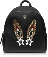 MCM Mini Black Leather Polke Bunny Studs Backpack