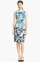 Oscar de la Renta Painted Floral Print Sheath Dress