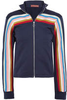 ALEXACHUNG - Striped Jersey Track Jacket - Midnight blue