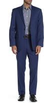 Blue Solid Two Button Notch Lapel Wool Blend Regular Fit Suit