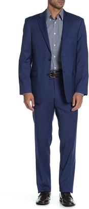 Tommy Hilfiger Blue Solid Two Button Notch Lapel Wool Blend Regular Fit Suit