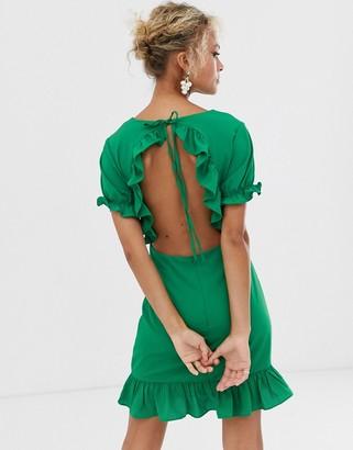 Glamorous ruffle mini dress with cutout back detail-Green