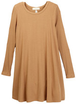 Soprano Long Sleeve Ribbed Knit Tee Dress (Big Girls)
