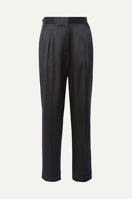 Nili Lotan Lia Silk-satin Slim-leg Pants - Black