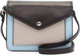 Neiman Marcus Lacey Leather Envelope Crossbody Bag, Black/Mink Gray/Powder Blue
