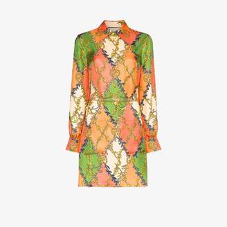 Gucci GG print silk mini dress