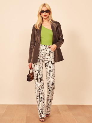 Reformation Newsprint High Rise Straight Long Jeans