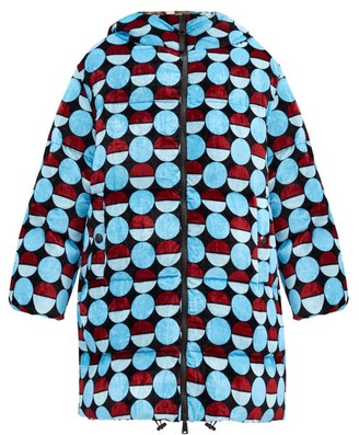 La DoubleJ Cocoon Reversible Down-filled Padded Coat - Blue Print