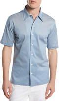 Brioni Piqué; Knit Button-Front Shirt, Light Blue