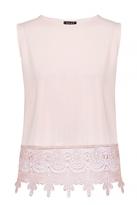Quiz Pink Crochet Hem Sleeveless Top
