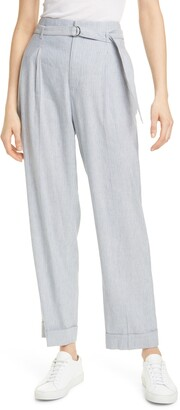 Club Monaco Belted Stripe Linen Blend Trousers