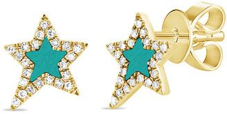 Sabrina Designs 14K 0.27 Ct. Tw. Diamond & Turquoise Star Studs