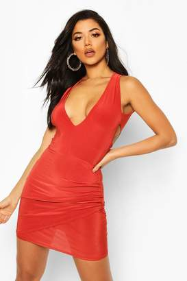 boohoo Double Lined Plunge Front Dress With Cut Out