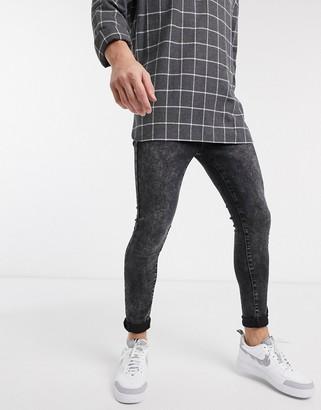 New Look super skinny acid wash jeans in black