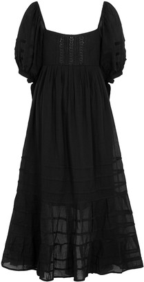 Free People Let's Be Friends black gauze midi dress