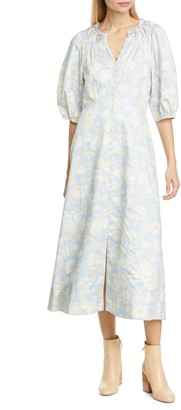 Rebecca Taylor Balloon Sleeve Floral Cotton Midi Dress