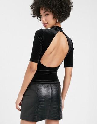 Monki high neck open back short sleeves velvet top in black
