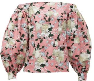 Erdem Dayla Off-the-shoulder Floral-print Cotton Blouse - Womens - Pink Print