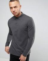 Asos Polo Shirt In Gray Pique With Button Down Collar In Gray