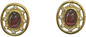 One Kings Lane Vintage Givenchy Gold-Plated Cabochon Earrings - Wisteria Antiques Etc