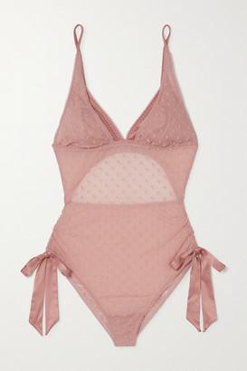 Coco de Mer Roxanne Satin-trimmed Polka-dot Flocked Tulle Bodysuit - Pink