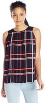 Vince Camuto Womens Plaid Pleated Blouse Black L