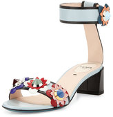 Fendi Flowerland Leather Ankle-Wrap Sandal, New Gray