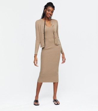 New Look Ribbed Knit Midi Dress and Cardigan Set