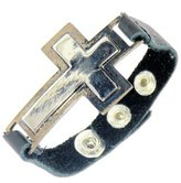 Neptune Giftware Metal Cross / Crucifix Leather Bracelet / Leather Wristband - (MAX WRIST SIZE 19 cm) - 166