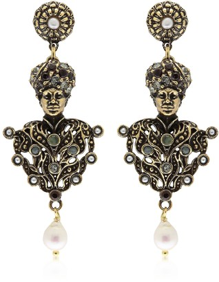 Alcozer & J Golden Brass Moro Drop Earrings