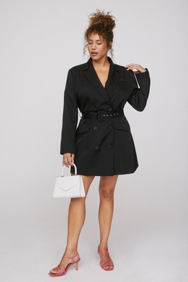 Nasty Gal Womens That's How It Works Plus Belted Blazer Dress - Black - 16