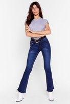 Nasty Gal Womens Flare Our Thoughts Slit High-Waisted Jeans - blue - S