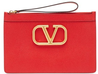 Valentino V-logo Medium Grained-leather Pouch - Womens - Red