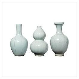 Legend Of Asia Handmade Crackle Bud Vase, Set of 3