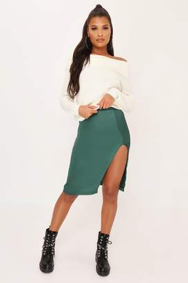 I SAW IT FIRST Green Split Front Hem Skirt