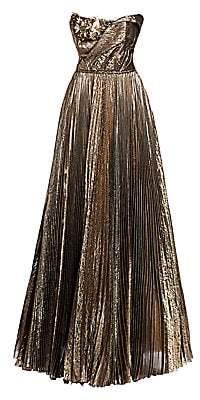 Oscar de la Renta Women's Metallic Plissé Floral Appliqué Strapless A-Line Ball Gown