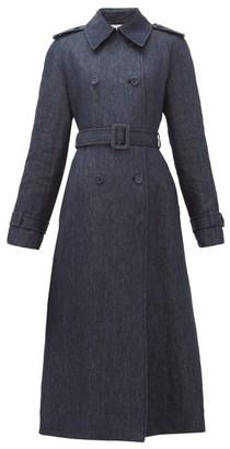 Gabriela Hearst Augustin Belted Linen-chambray Coat - Womens - Denim