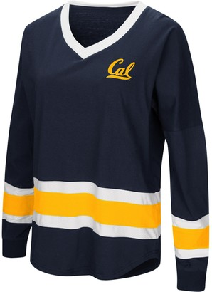 Colosseum Women's Navy Cal Bears Marquee Players Oversized Long Sleeve V-Neck Top