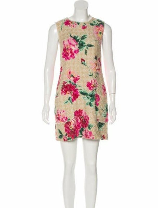 Dolce & Gabbana Tweed Floral Print Dress Beige