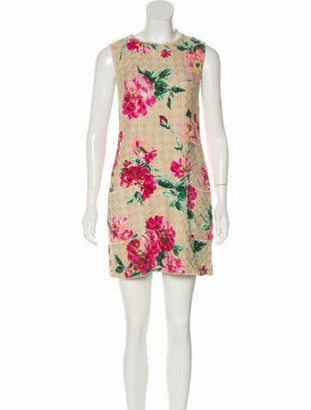 Dolce & Gabbana Tweed Floral Print Dress Beige