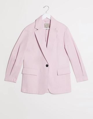 Asos DESIGN hero XL grandad coat in pastel pink