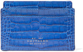 Smythson Mara Croc-effect Leather Cardholder - Bright blue