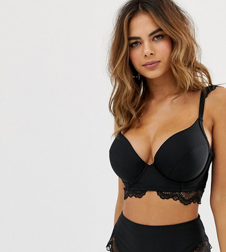 Wolfwhistle Wolf & Whistle Fuller Bust Exclusive lace underwired bikini top in black